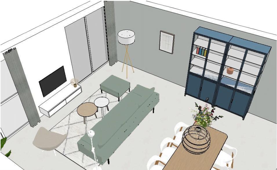 Portfolio - Verbouwing woonhuis Rosmalen - Sketchup - woonkamer