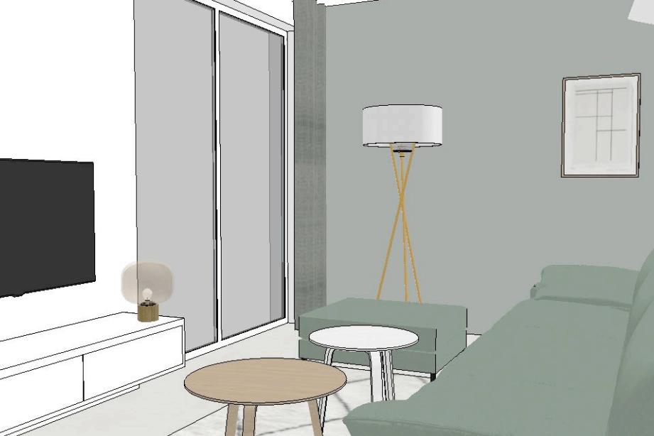 Portfolio - Verbouwing woonhuis Rosmalen - Sketchup - zitkamer